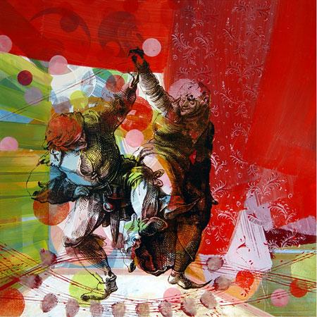 die kartenfaktorei: Künstlerportrait - Weihnachtskarten: Yvonne Schneider - Paar rote Bühne